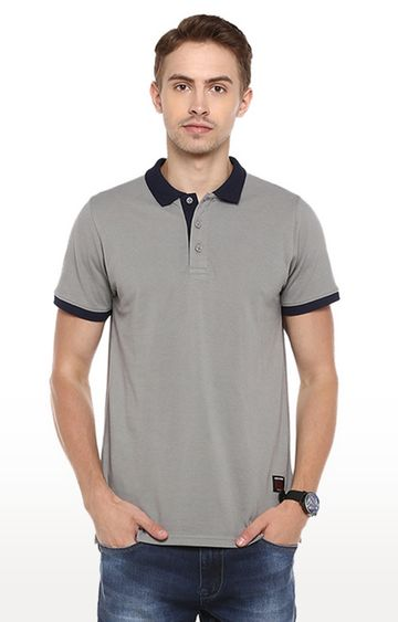 RED CHIEF   Grey Solid Polo T-Shirt