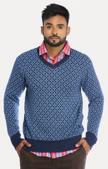 RED CHIEF | Blue Printed Sweater