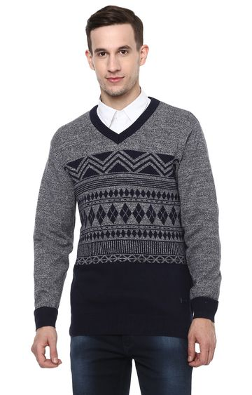 RED CHIEF   Grey Printed Sweater