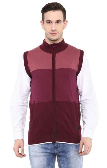 RED CHIEF | Maroon Colourblock Sweater