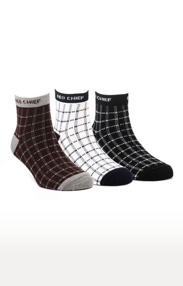 RED CHIEF | Multicoloured Checked Socks - Pack of 3