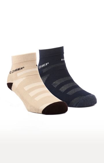 RED CHIEF   Beige and Navy Solid Socks - Pack of 2