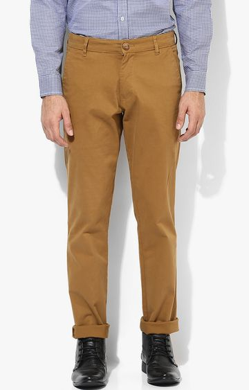 RED CHIEF | Khaki Solid Straight Chinos