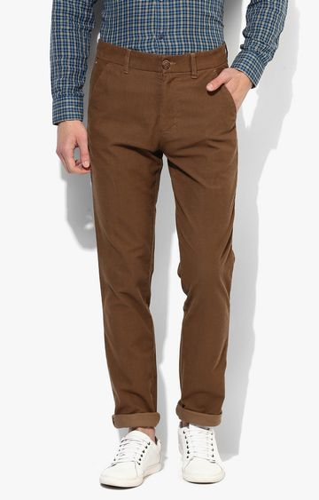 RED CHIEF | Brown Solid Straight Chinos