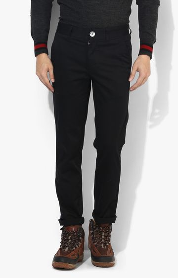 RED CHIEF | Black Solid Straight Chinos