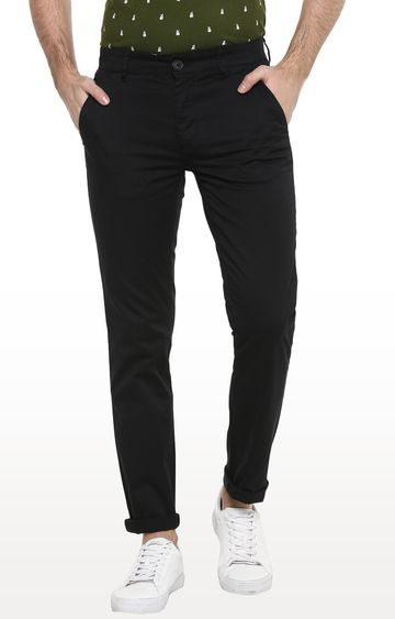 RED CHIEF | Black Solid Slim Fit Chinos
