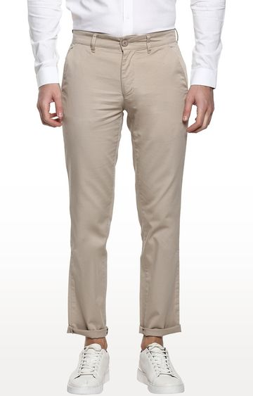RED CHIEF | Beige Solid Slim Fit Chinos