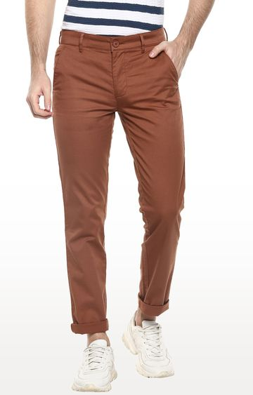 RED CHIEF | Maroon Solid Slim Fit Chinos