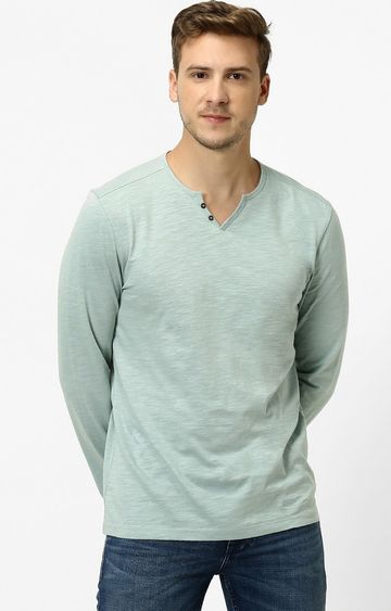 celio | Sea Green Melange Regular Fit T-Shirt