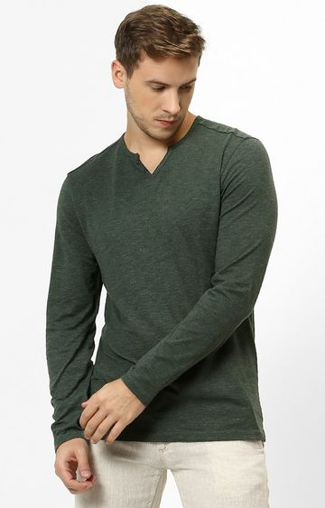 celio | Green Melange Regular Fit T-Shirt