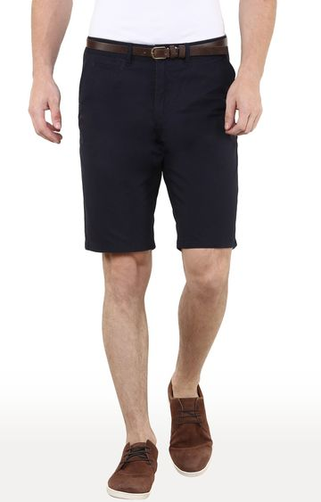 celio   Navy Solid Regular Fit Shorts