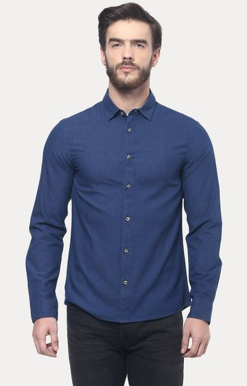 celio | Indigo Patterned Casual Shirt