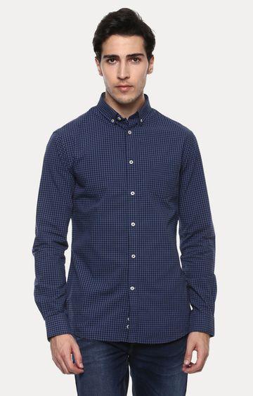 celio | Favichy Blue Checked Casual Shirt