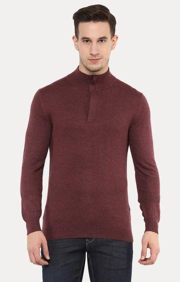 celio   Felim Maroon Melange Sweater