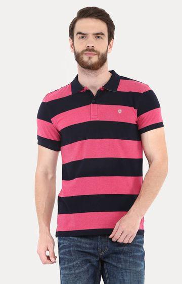 celio   Dark Pink Striped Polo T-Shirt