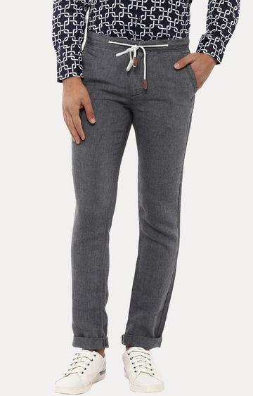 celio | Grey 100% Linen Straight Pants