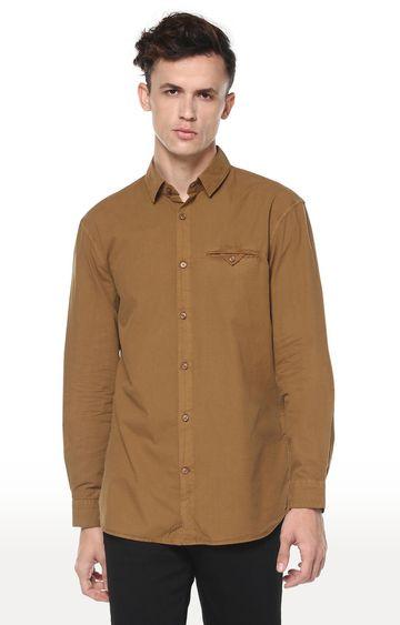 celio | Brown Solid Regular Fit Casual Shirt