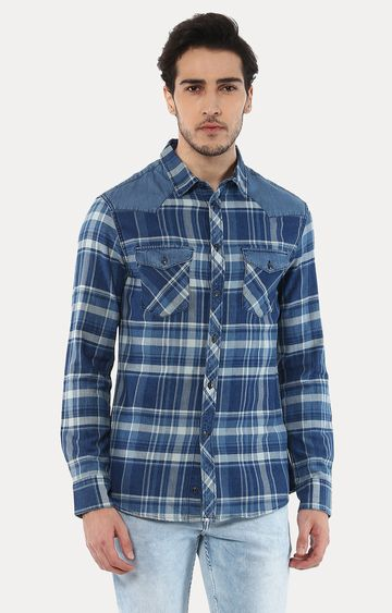 celio | Jamix2 Blue Checked Casual Shirt