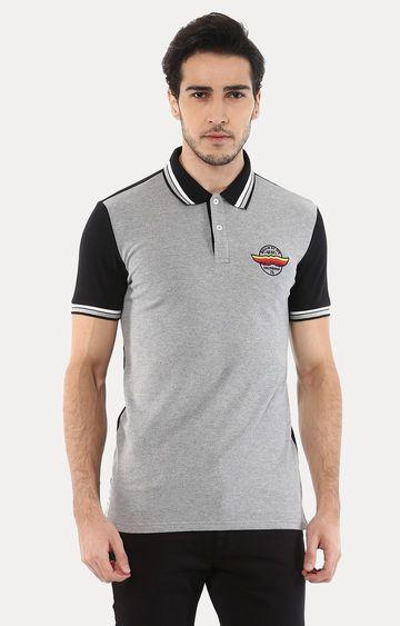 celio | Jegym Grey Melange Polo T-Shirt