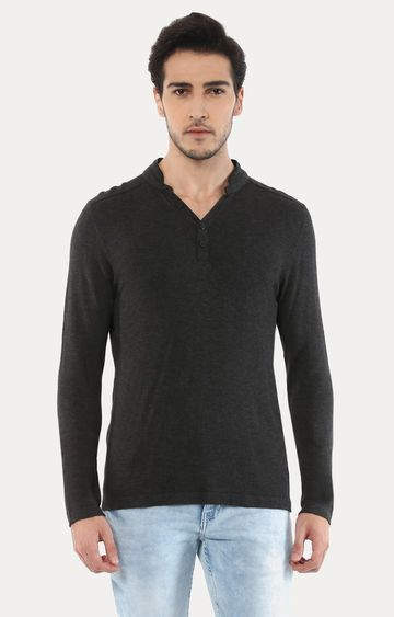 celio | Jemajor Charcoal Solid T-Shirt
