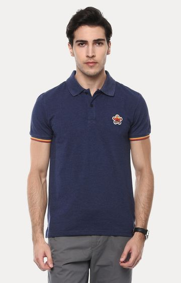 celio | Jeretro Blue Solid Polo T-Shirt