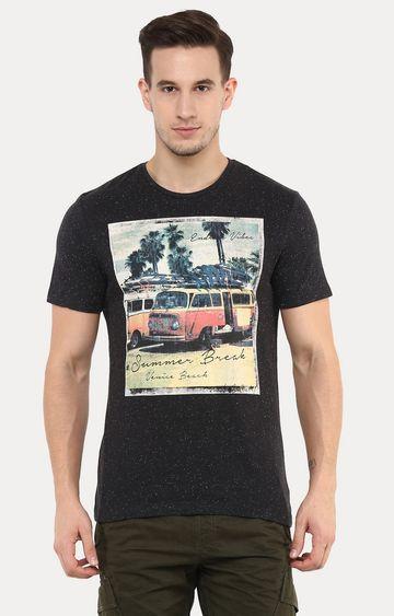 celio | Jevenise Black Printed T-Shirt