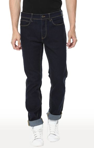 celio   Dark Blue Solid Straight Slim Fit Jeans