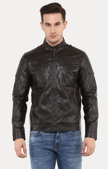 celio | Jubiker Purple Solid Leather Jacket