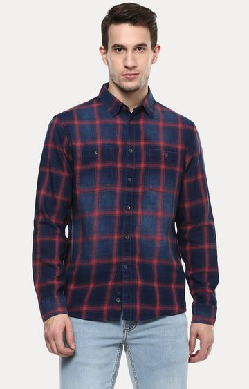 celio | Blue and Red Checked Casual Shirt