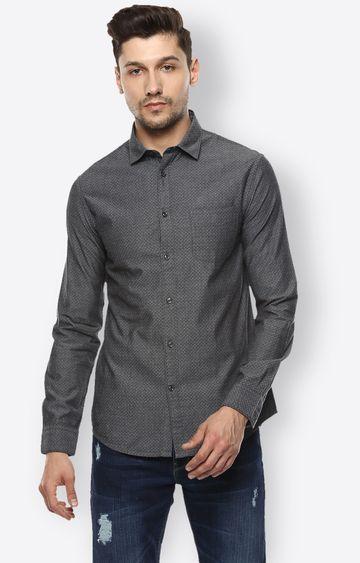 celio | Dark Grey Solid Casual Shirt