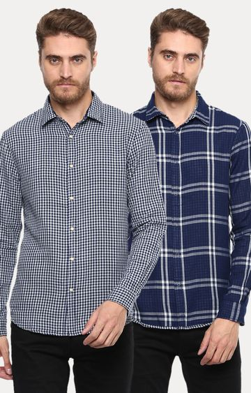 celio | Navy Checked Reversible Casual Shirt