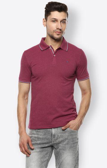 celio   Dark Pink Melange Polo T-Shirt