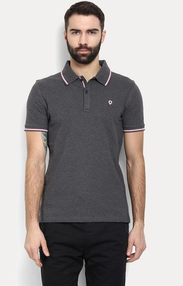 celio | Dark Grey Solid Polo T-Shirt