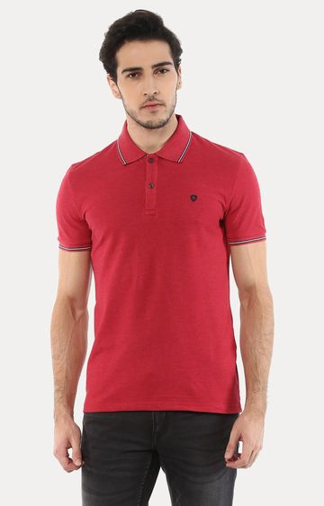 celio | Lecolrayeb Red Solid Polo T-Shirt