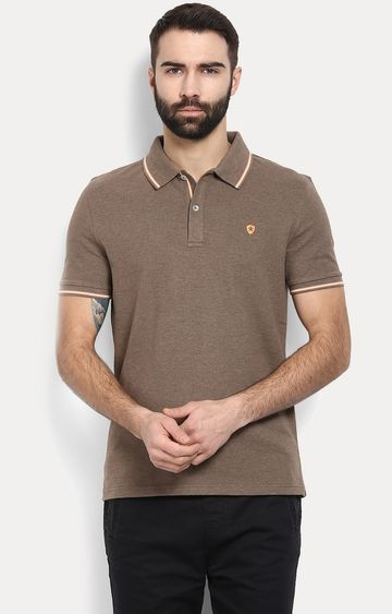 celio | Brown Solid Polo T-Shirt