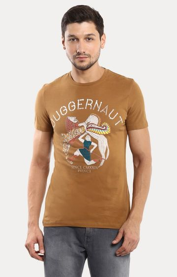 celio | Brown Printed T-Shirt