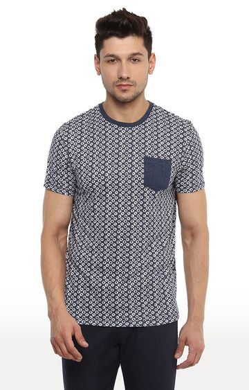 celio | Indigo Printed Straight Fit T-Shirt