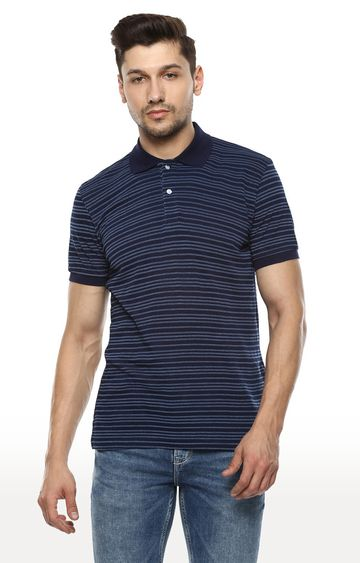 celio | Indigo Striped Regular Fit Polo T-Shirt