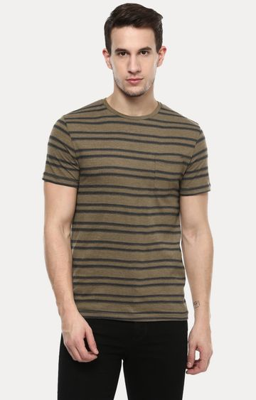celio | Olive Striped T-Shirt