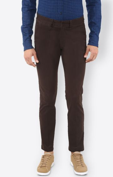 celio   Brown Solid Straight Jeans