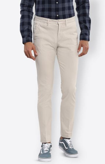 celio | Light Beige Solid Straight Jeans