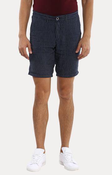 celio   Navy Striped Shorts