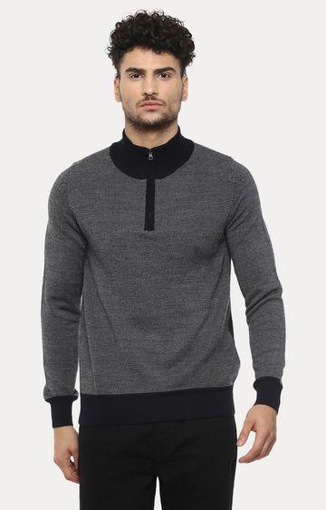 celio   Navy Solid Sweater
