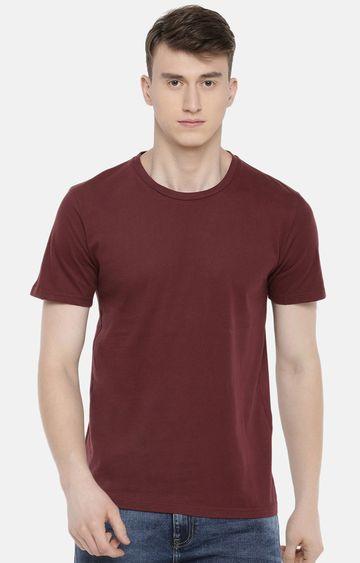 celio | Maroon Solid T-Shirt