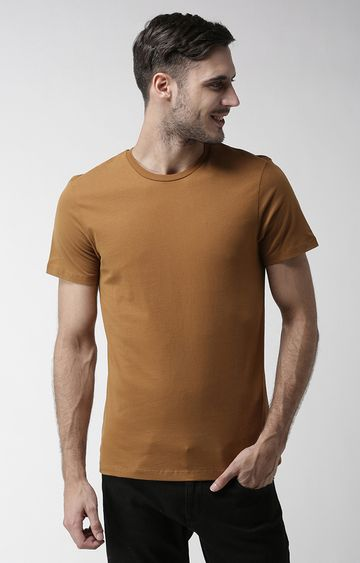 celio | Brown Solid Straight Fit T-Shirt