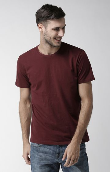 celio | Maroon Solid Straight Fit T-Shirt