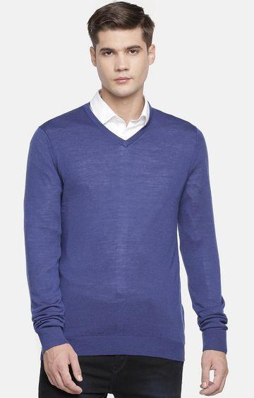 celio   Blue Solid Sweater