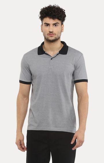 celio   Grey Melange Polo T-Shirt