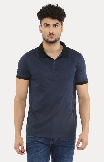 celio   Navy Melange Polo T-Shirt