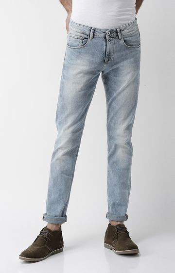 celio | Light Blue Solid Slim Fit Tapered Jeans